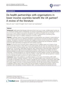 thumbnail of Do health partnerships with organisations in lower income countries benefit the UK partner, 2013
