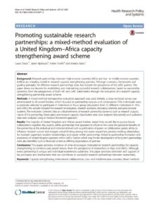 thumbnail of Promoting sustainable research partnerships, 2015
